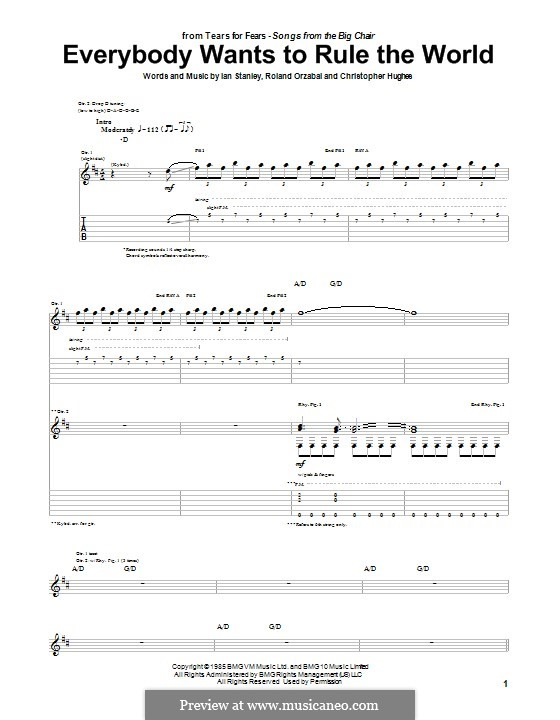 Everybody Wants to Rule the World (Tears for Fears): Гитарная табулатура by Chris Hughes, Ian Stanley, Roland Orzabal