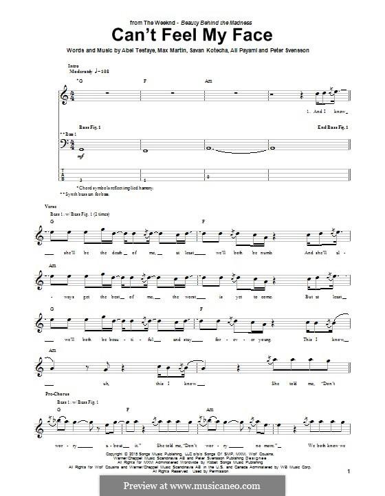 Can't Feel My Face (The Weeknd): Для бас-гитары с табулатурой by Max Martin, Peter Svensson, Savan Kotecha, Abel Tesfaye, Ali Payami