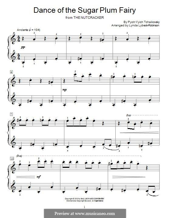 No.3 Танец феи Драже, для фортепиано: For a single performer (by Lynda Lybeck-Robinson) by Петр Чайковский
