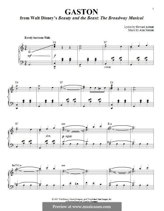 Gaston (from Beauty and the Beast): Для голоса и фортепиано by Alan Menken