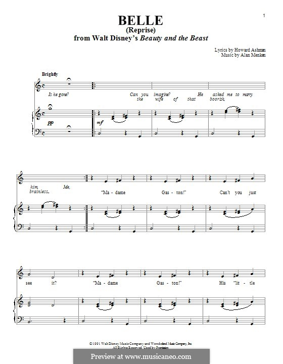 Belle (from Beauty and the Beast): Reprise, for voice and piano by Alan Menken