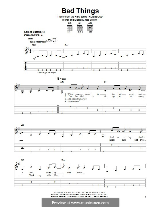 Bad Things: Для голоса и фортепиано (или гитары) by Jace Everett