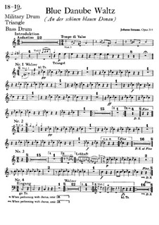 На прекрасном голубом Дунае, Op.314: Партии ударных by Иоганн Штраус (младший)