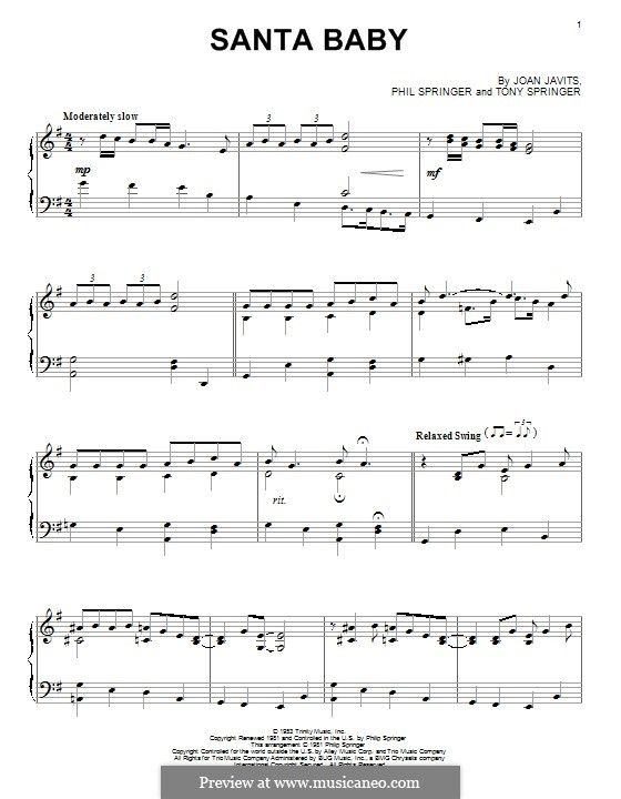 Santa Baby (Eartha Kitt): Для фортепиано by Joan Javits, Philip Springer, Tony Springer