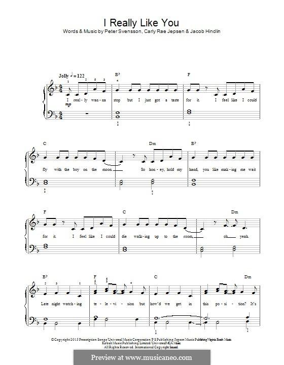 I Really Like You: Для фортепиано by Jacob Kasher Hindlin, Peter Svensson, Carly Rae Jepsen