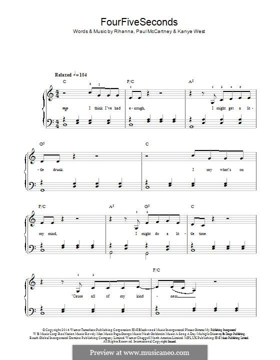 Four Five Seconds: Для фортепиано by Kanye West, Paul McCartney, Rihanna