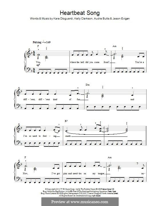 Heartbeat Song: Для фортепиано by Audra Butts, Kara DioGuardi, Kelly Clarkson, Jason Evigan