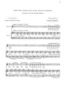 Noël des enfants qui n'ont plus de maison (Christmas Carol for Homeless Children), L.139: Клавир с вокальной партией by Клод Дебюсси