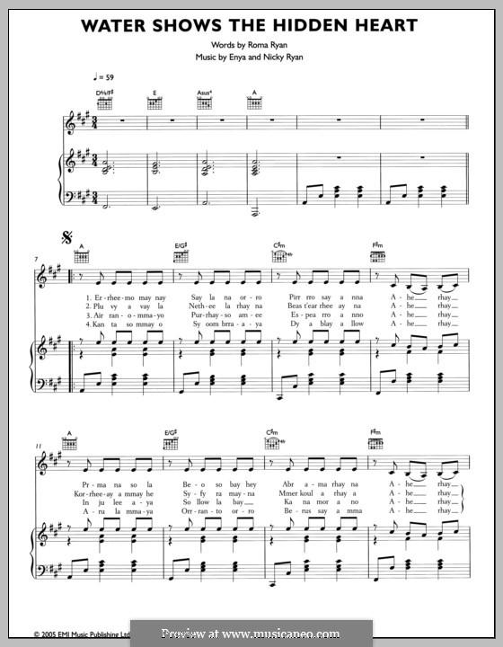 Water Shows the Hidden Heart: Для голоса и фортепиано (или гитары) by Enya, Nicky Ryan