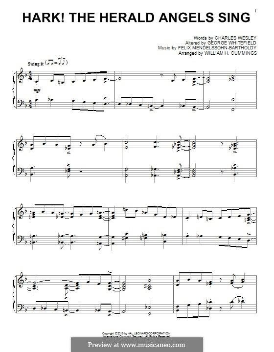 Hark! The Herald Angels Sing, for Piano: Для одного исполнителя by Феликс Мендельсон-Бартольди