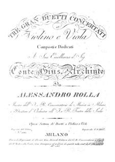 Три концертных дуэта для скрипки и альта, BI 37, 60, 50 Op.7: Три концертных дуэта для скрипки и альта by Алессандро Ролла