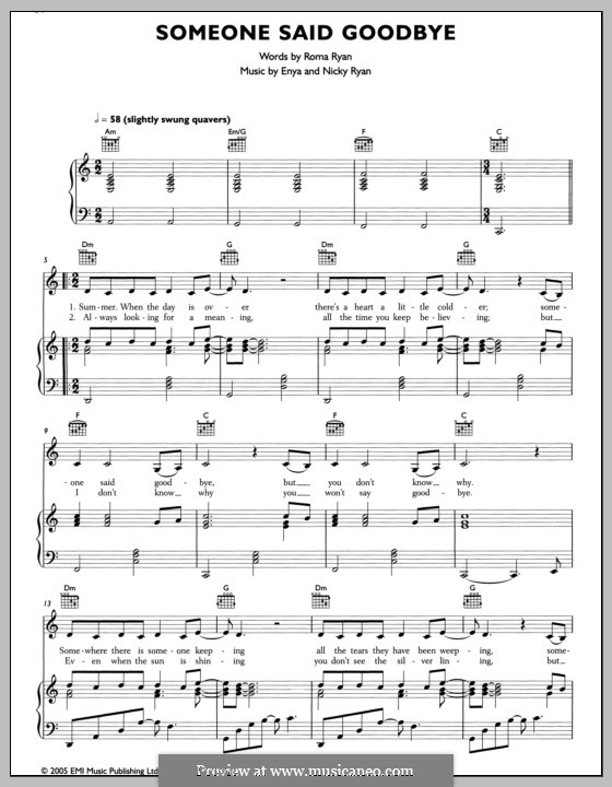 Someone Said Goodbye: Для голоса и фортепиано (или гитары) by Enya, Nicky Ryan