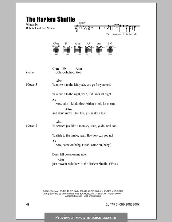 Harlem Shuffle: Текст, аккорды by Bob Relf, Earl Nelson