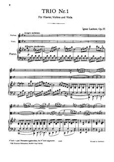 Фортепианное трио No.1 си-бемоль мажор, Op.37: Партитура by Игнац Лахнер
