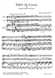 Фортепианное трио No.3 ре мажор, Op.58: Партитура by Игнац Лахнер