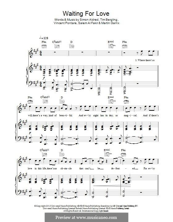 Waiting for Love: Для голоса и фортепиано (или гитары) by Simon Aldred, Avicii, Vincent Pontare, Salem Al Fakir, Martin Garrix