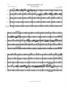Ich steh mit einem Fuss im Grabe, BWV 156: Arranged for cello quartet by Иоганн Себастьян Бах