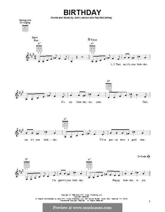 Birthday (The Beatles): Гитарная табулатура by John Lennon, Paul McCartney