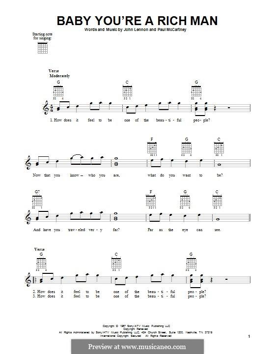 Baby You're a Rich Man (The Beatles): Гитарная табулатура by John Lennon, Paul McCartney