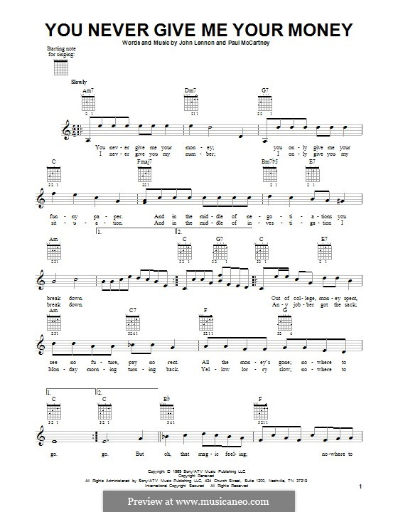 You Never Give Me Your Money (The Beatles): Гитарная табулатура by John Lennon, Paul McCartney