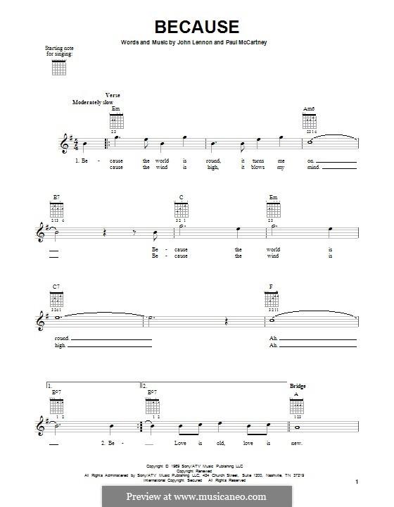 Because (The Beatles): Гитарная табулатура by John Lennon, Paul McCartney