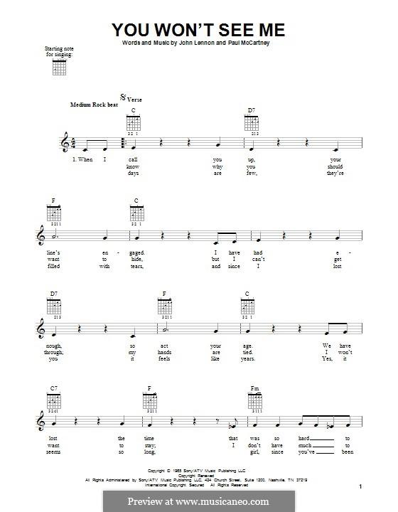 You Won't See Me (The Beatles): Гитарная табулатура by John Lennon, Paul McCartney