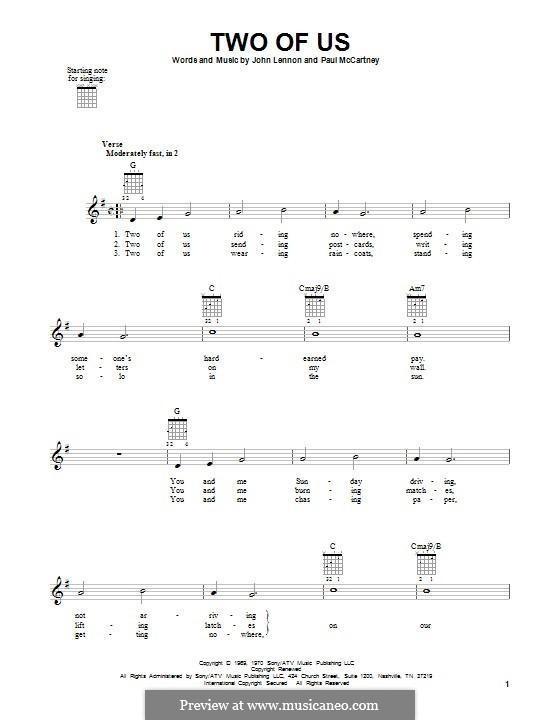 Two of Us (The Beatles): Гитарная табулатура by John Lennon, Paul McCartney