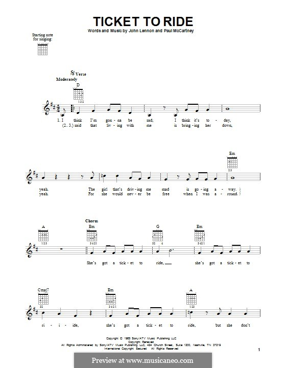 Ticket to Ride (The Beatles): Гитарная табулатура by John Lennon, Paul McCartney