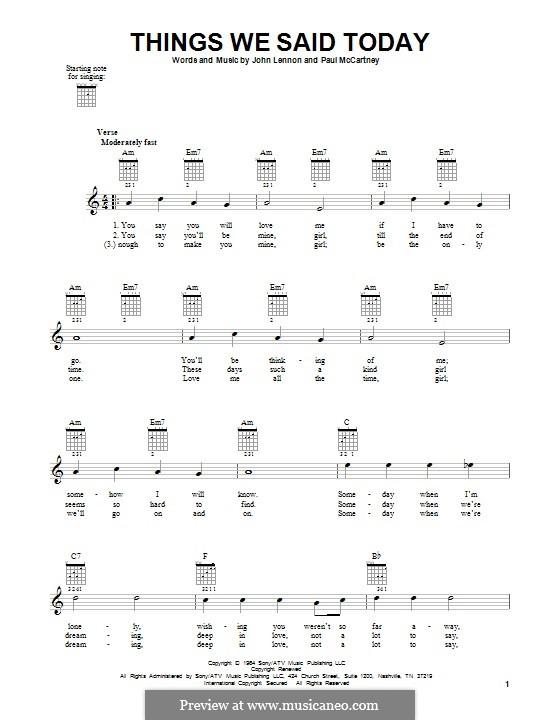 Things We Said Today (The Beatles): Гитарная табулатура by John Lennon, Paul McCartney