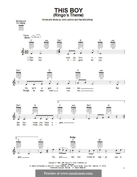 This Boy (Ringo's Theme): Гитарная табулатура by John Lennon, Paul McCartney