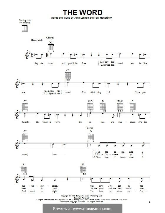 The Word (The Beatles): Гитарная табулатура by John Lennon, Paul McCartney