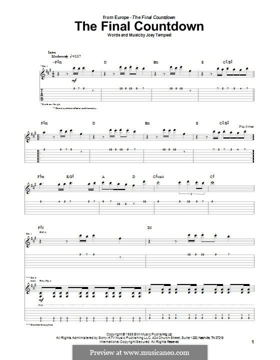 Final Countdown (Europe): Гитарная табулатура by Joey Tempest