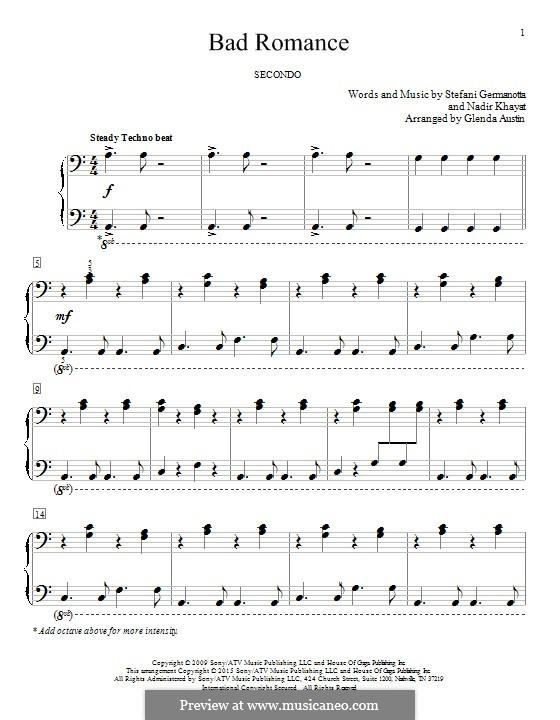 Bad Romance (Lady Gaga): Для фортепиано by RedOne, Stefani Germanotta