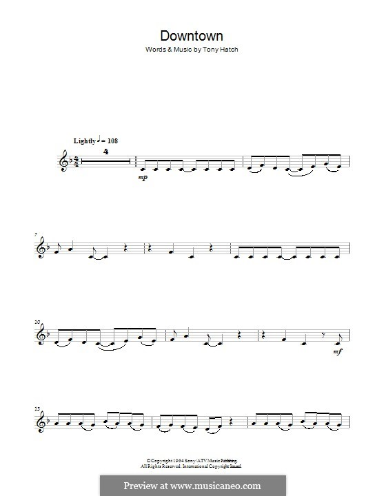Downtown (Petula Clark): Для кларнета by Tony Hatch