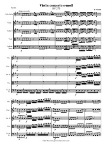 Concerto for Violin and Strings in E Minor, RV 273: Score and all parts by Антонио Вивальди