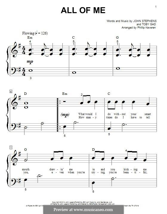 All of Me: Для фортепиано by John Stephens, Tobias Gad