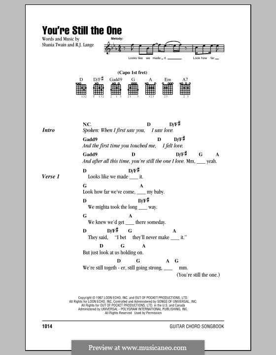 You're Still the One: Текст, аккорды by Robert John Lange, Shania Twain