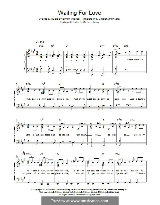 Waiting for Love: Для фортепиано by Simon Aldred, Avicii, Vincent Pontare, Salem Al Fakir, Martin Garrix