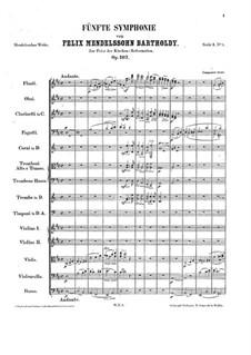 Симфония No.5 ре мажор 'Реформаторская', Op.107: Партитура by Феликс Мендельсон-Бартольди