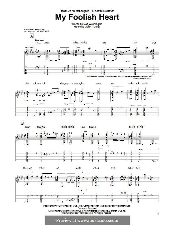 My Foolish Heart: Гитарная табулатура by Victor Young