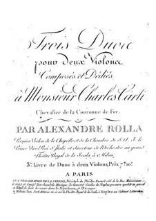 Три дуэта для двух скрипок, BI 159, 195, 188: Три дуэта для трех скрипок by Алессандро Ролла