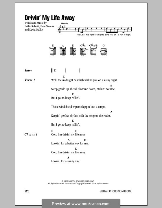 Drivin' My Life Away (Eddie Rabbitt): Текст, аккорды by David Malloy, Even Stevens