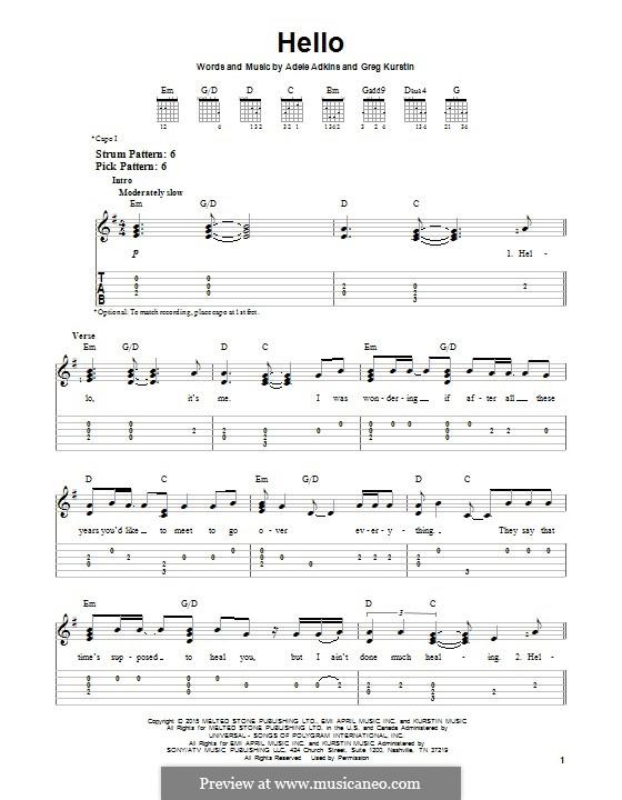 Hello: Гитарная табулатура by Adele, Greg Kurstin