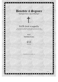 Benedite il Signore - Sacred Madrigal for SATB choir a cappella, CS885: Benedite il Signore - Sacred Madrigal for SATB choir a cappella by Santino Cara