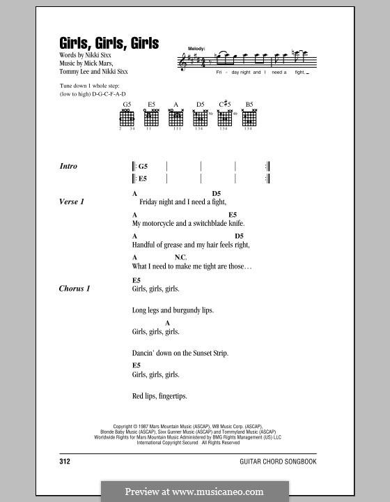 Girls, Girls, Girls (Motley Crue): Текст, аккорды by Mick Mars, Nikki Sixx, Tommy Lee