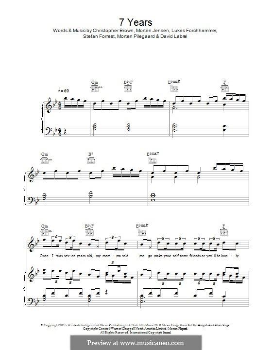 7 Years: Для голоса и фортепиано (или гитары) by Christopher Brown, David Labrel, Lukas Forchhammer, Stefan Forrest, Morten Jensen, Morten Pilegaard