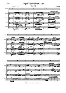 Concerto for Fagotto and Strings in G Major, RV 492: Score and all parts by Антонио Вивальди