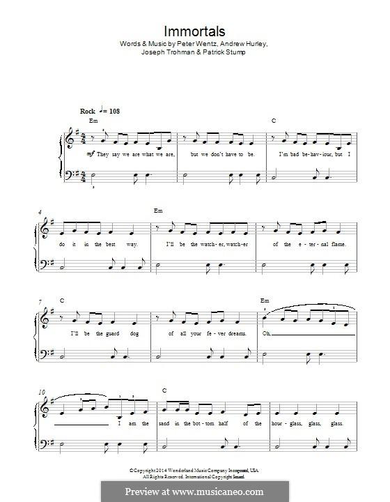 Immortals (Fall Out Boy): Для фортепиано by Andrew Hurley, Joseph Trohman, Patrick Stump, Peter Wentz