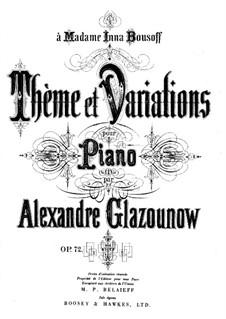 Тема с вариациями для фортепиано, Op.72: Для одного исполнителя by Александр Глазунов