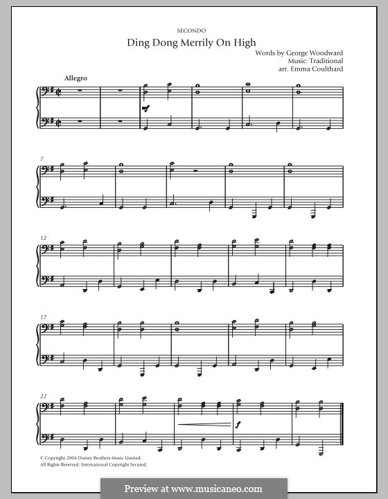 Ding Dong! Merrily on High (Printable Scores): Для фортепиано by folklore